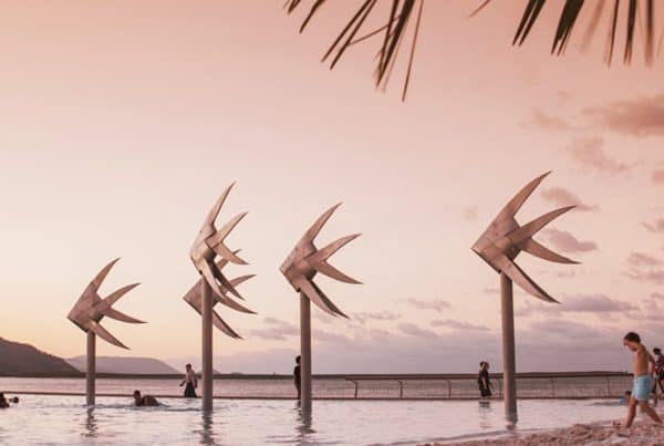 Sunset at Cairns Lagoon, a great place for school holidays activities