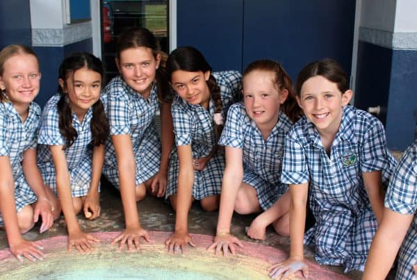 Young girls focus on wellbeing by having fun creating together